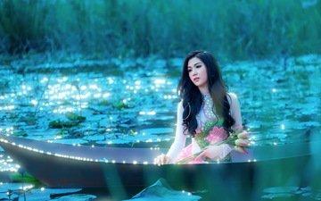 цветы, озеро, девушка, настроение, лето, лодка, азиатка, лотосы