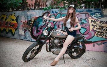 девушка, фон, стена, сидит, мотоцикл, графити, азиатка