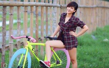 девушка, настроение, улыбка, взгляд, волосы, лицо, азиатка, велосипед