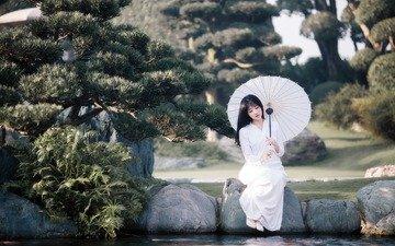 девушка, настроение, модель, сидит, пруд, зонтик, в белом, азиатка
