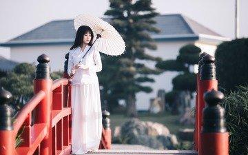 mood, bridge, model, umbrella, asian, is