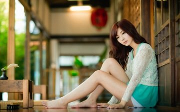 девушка, платье, модель, сидит, пол, азиатка, длинные волосы, сидя