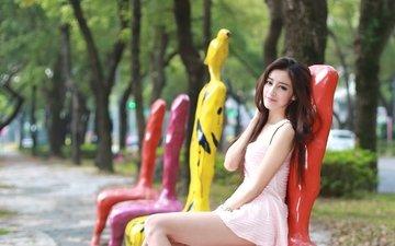 девушка, разноцветные, взгляд, скамейки, сидит, волосы, лицо, азиатка