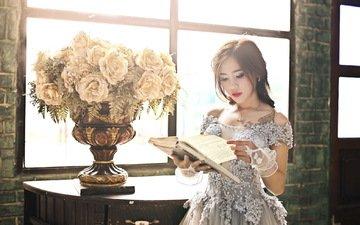 цветы, девушка, взгляд, модель, волосы, лицо, книга, азиатка