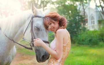 horse, girl, background, smile, summer, hair, face, asian, contact