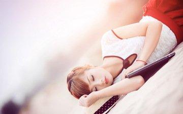 песок, спит, модель, руки, азиатка