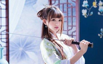 девушка, меч, взгляд, лицо, самурай, кимоно, катана