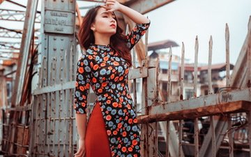 girl, dress, the fence, asian, is