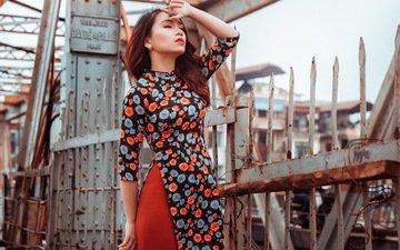девушка, платье, забор, азиатка, стоит