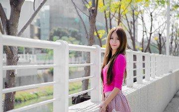 девушка, лето, взгляд, забор, волосы, лицо, азиатка, стоит