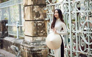 стиль, девушка, забор, улица, шляпа, азиатка