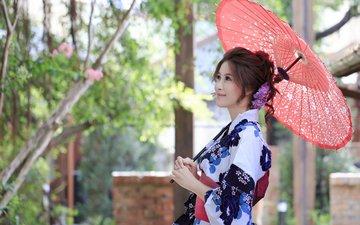 девушка, улыбка, лето, зонт, зонтик, азиатка
