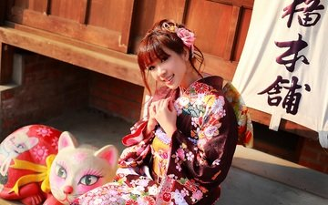 girl, smile, look, face, clothing, kimono, asian