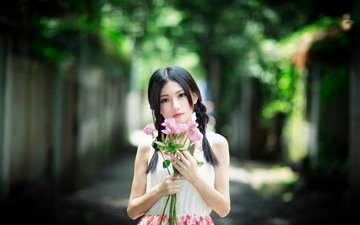 девушка, настроение, лето, букет, руки, азиатка, косички