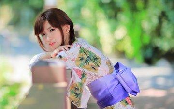 стиль, девушка, настроение, поза, лето, модель, лицо, одежда, кимоно, азиатка