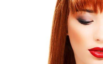 девушка, взгляд, волосы, лицо, макияж, рыжеволосая