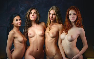 look, girls, hair, face, naked