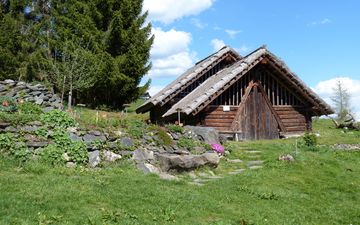 grass, village, austria, hut, celtic village