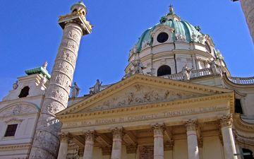 cathedral, austria, church, architecture, the building, columns, dome, vienna, carina, karlsplatz