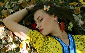 листья, девушка, осень, лицо, закрытые глаза