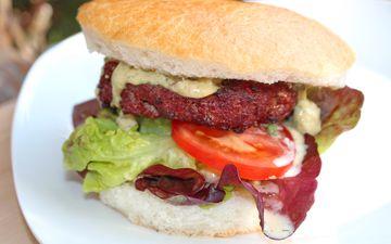гамбургер, помидор, салат, бургер, сэндвич