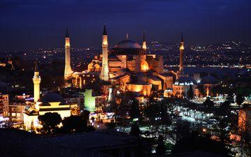 ночь, турция, памятник, освещение, музей, стамбул, городской пейзаж, собор святой софии, константинополь