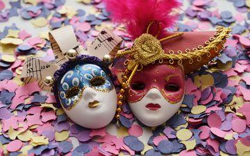 праздник, маски, карнавал, конфетти