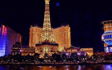 night, casino, paris, architecture, monument, las vegas, lighting