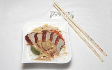 мясо, утка, палочки, соус, рис, блюдо, японская кухня, китайская еда