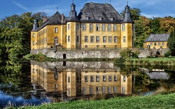the sky, trees, water, nature, castle, architecture, the building, germany, the estate, ditch, schloss dyck