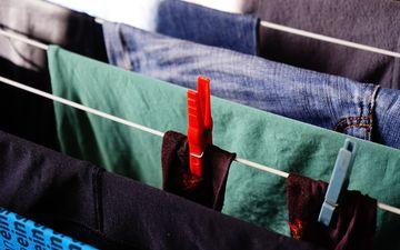 вещи, одежда, веревка, прищепки, текстиль