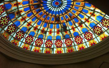 разноцветный, стекло, потолок, купол, витраж