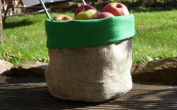 трава, фрукты, яблоки, осень, мешок, витамины, урожай, плоды