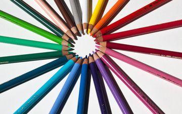разноцветные, карандаши, цветные карандаши