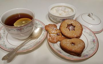 напиток, лимон, чашка, чай, печенье, выпечка, десерт, ложка