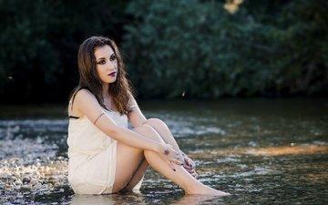 река, девушка, платье, модель, ножки, лицо, макияж, мокрая, dalia cuesta