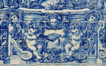 картина, португалия, плитка, фасад, изобразительное искусство, иллюстрация, азулежу
