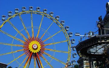 the sky, park, ferris wheel, the city, stay, attraction, amusement park, leisure