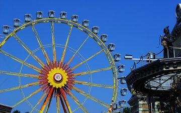 небо, парк, колесо обозрения, город, отдых, аттракцион, парк развлечений, досуг
