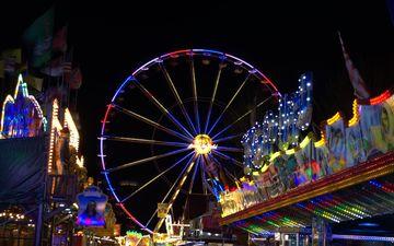 ночь, огни, парк, колесо обозрения, город, отдых, аттракцион, парк развлечений, досуг