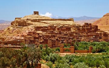 landscape, castle, ruins, fortress, monument, valley, excavations, morocco, adobe