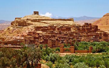пейзаж, замок, руины, крепость, памятник, долина, раскопки, марокко, саман