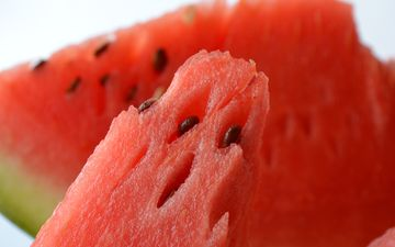red, watermelon, slices, the flesh, juicy