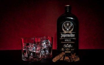 cinnamon, table, glasses, bottle, alcohol, liqueur, jägermeister