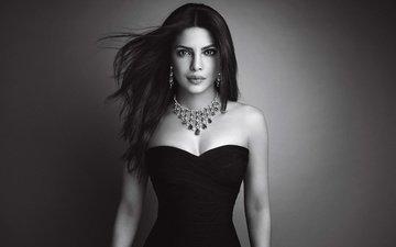 eyes, decoration, girl, pose, smile, brunette, black and white, model, hair, lips, face, actress, makeup, neckline, celebrity, priyanka chopra