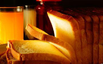 хлеб, стакан, кусочки, выпечка, сок, тосты, нарезка