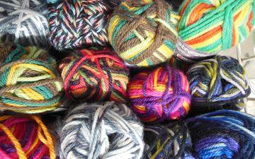 разноцветные, нитки, вязание, пряжа, рукоделие, мотки