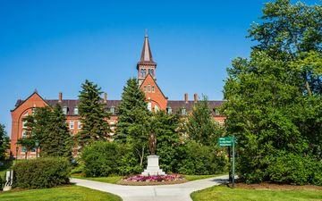 небо, трава, деревья, природа, пейзаж, парк, лето, сша, архитектура, здание, университет, вермонт, бёрлингтон