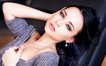 girl, portrait, brunette, look, model, hair, face, angelina petrova