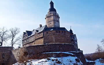 snow, nature, winter, castle, tower, the building, germany, falkenstein, falkenstein castle